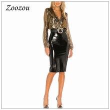 High Waist Latex Patent Leather Pencil Skirt Women Elegant Back Slit Hem Office Lady Skirt Pu Leather Knee Length Skirt Custom