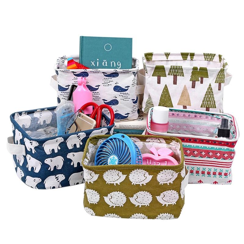 Linen Desktop Storage Box Waterproof Toy Sundries Storage Basket Cosmetic Underware Storage Organizer Office Stationery 2