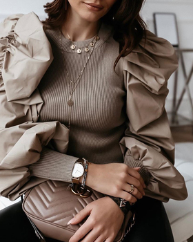 2020 Spring Elegant Round Neck Puff Sleeve Insert Ribbed Blouse Women Spring Autumn Long Sleeve Casual Blouse Tops Streetwear red round neck flared sleeves blouse