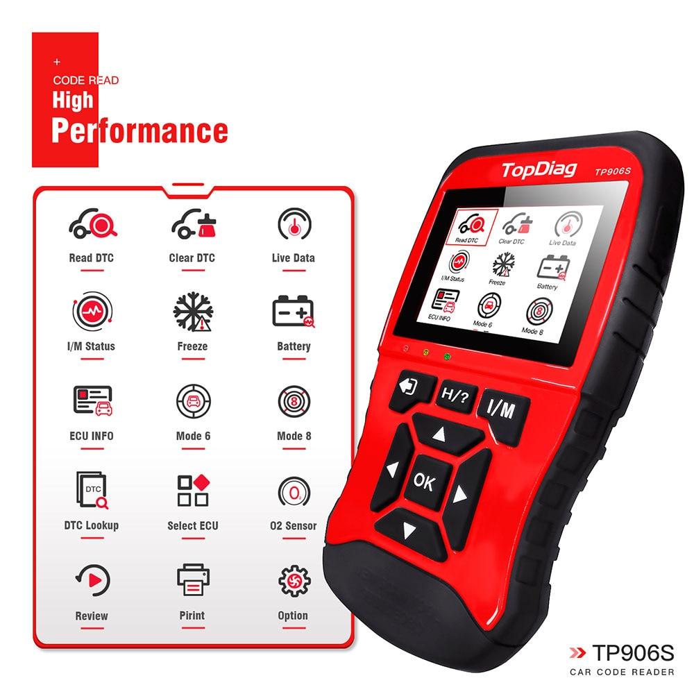 TopDiag Professional JD906 JD906S skaner OBD2 narzędzie diagnostyczne do samochodów czytnik kodów OBD 2 skaner samochodowy OBDII usterki urządzenia do skanowania