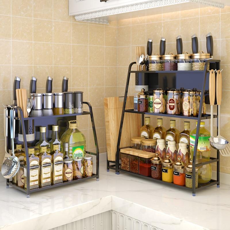 Kitchen Multifunction Spices Under Cabinet Organizer And Storage Stainless Steel Seasoning Shelves Kitchen Storage Racks Holders