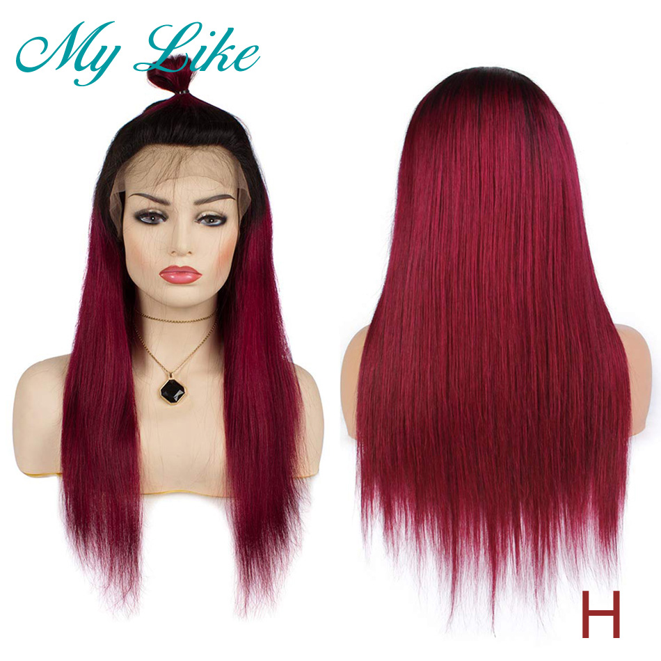 My Like Ombre Burgundy Full Lace Human Hair Wigs 1b/99j Peruvian Straight Remy Gluess Full Lace Wigs 130% 150% 180% High Ratio