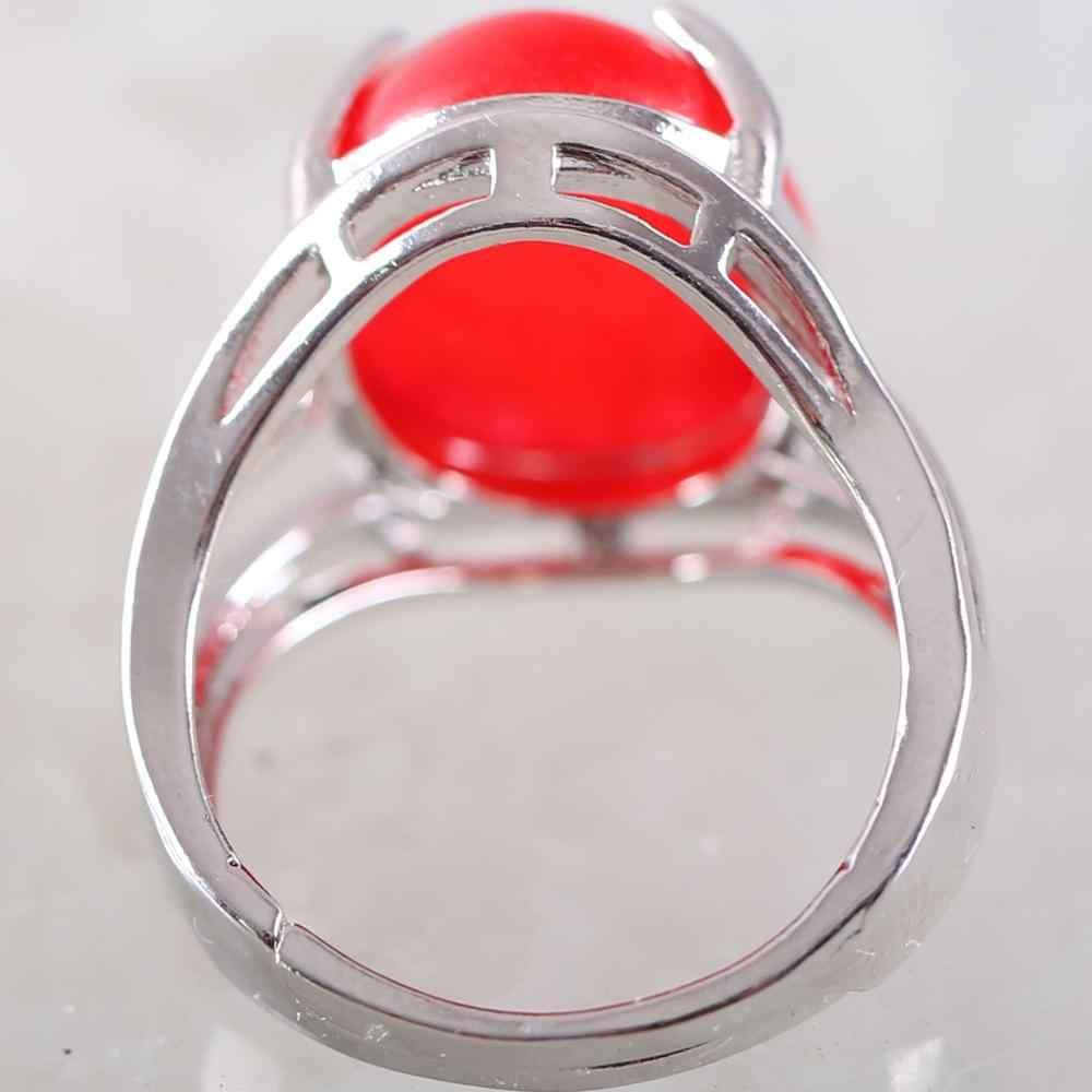 1Pcs Silver สีผู้หญิงแหวนสีแดง Jades รูปไข่ Cabochon CAB ลูกปัดปรับนิ้วมือแหวนของขวัญเครื่องประดับ K163