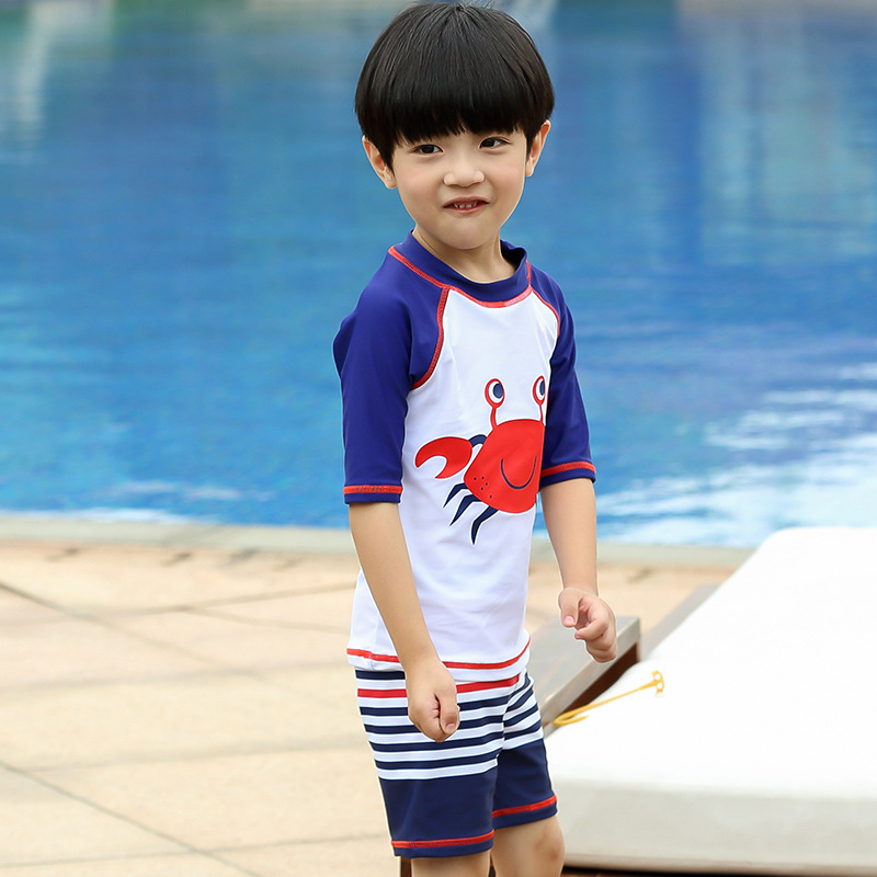 2019 South Korea New Style Middle And Large Boys' Three-piece Suit Swimsuit Cartoon Sun-resistant