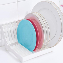 Foldable Dish Plate Drying Rack Organizer Drainer Plastic Storage Holder White Kitchen Organizer mutfak organizer dish drying especias afdruiprek keuken rotate cozinha cuisine cocina organizador kitchen storage rack holder