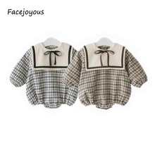 2020 Spring Summer Baby Girl Bodysuit Cotton Long-sleeved Plaid Print B