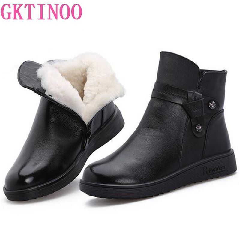 GKTINOO 2019 New Winter Wool Boots Women Shoes Warm Winter Shoes Genuine Leather Boots Casual Shoes Flat Boots Women Snow Boots