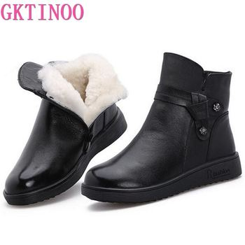 GKTINOO 2020 New Winter Wool Boots Women Shoes Warm Winter Shoes Genuine Leather Boots Casual Shoes Flat Boots Women Snow Boots winter women boots female round toe long riding motorcycle boots shoes stylish flat flock shoes winter snow boots shoes