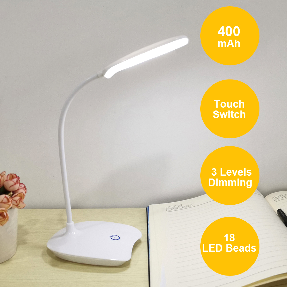 USB Rechargeable LED Stand Desks Table Lamp Adjustable Hose Study Room Light Table Lamp Touch Switch 3 Modes Dimmer Desk Lamps