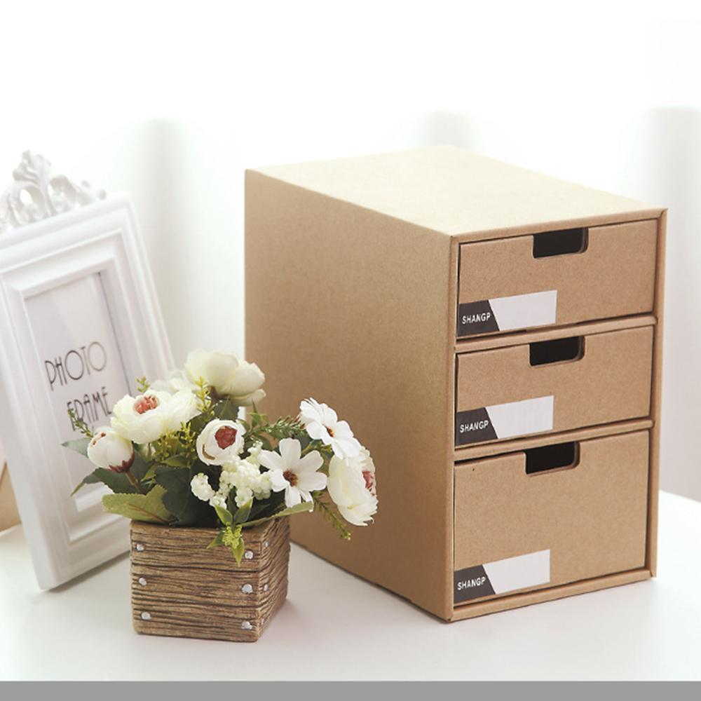 3 Layer Desktop Storage Paper Type Cabinet Desk File Finishing Box Simple Book Standing File Storage Box Storage Drawers