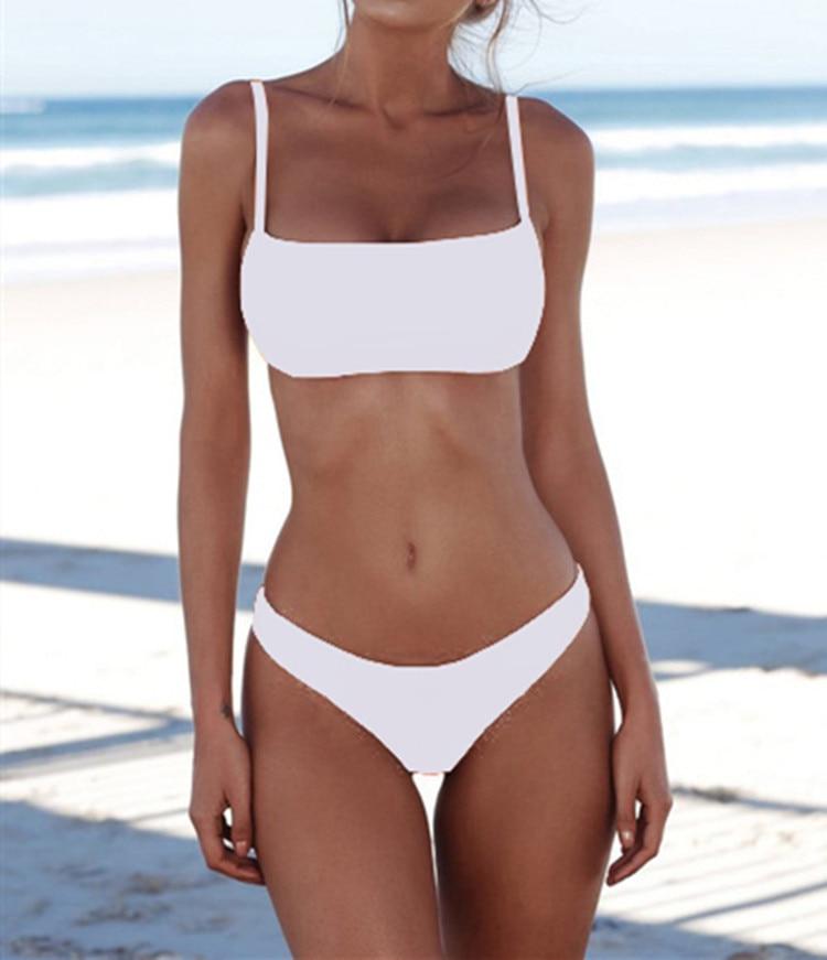 New Solid Sexy Bikini Set Women Swimming Suit Fashion Swimsuit Two-Piece Swimwear Bathing Suit Female Biquini Plus Size XL Sets 2