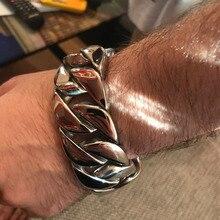 31MM Wide Shiny Cuba Big Bracelet Men Cool Punk Stainless Steel Jewelry Fashion Mens Bracelets & Bangles Hand Thick Chain
