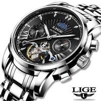 Lige fashoin new mens 시계 탑 브랜드 럭셔리 자동 기계식 뚜르 비옹 시계 남성 스테인레스 스틸 방수 손목 시계