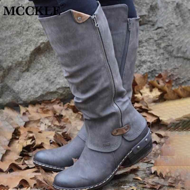 MCCKLE kadın orta buzağı çizmeler Vintage İngiliz PU deri ayakkabı kadın düşük topuk Zip dikiş bayanlar moda Retro uzun çizmeler kadın