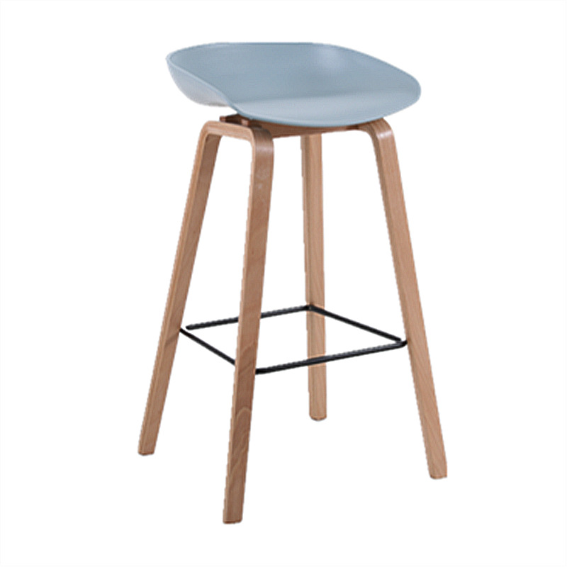 Nordic Bar Chair High Stool Solid Wood Foot White Designer Modern Leisure Simple