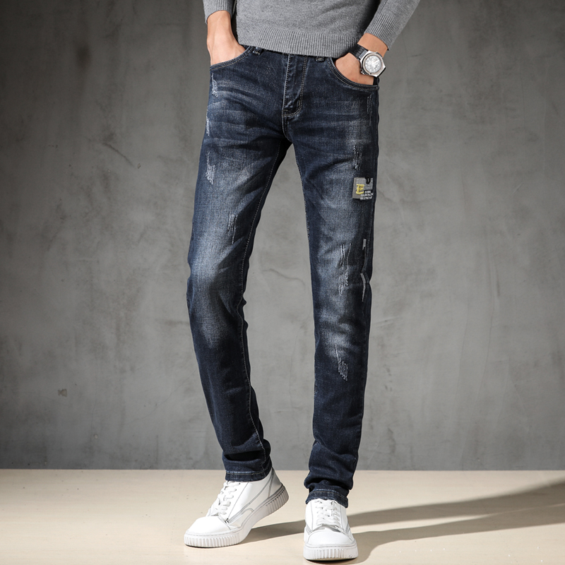 KSTUN Jeans Men Autumn and Winter Slim Straight fit Gray Blue Stretch Embroidered Letters High Street Famous Brand Mens Trousers