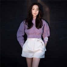 2019 In Early Spring Is The Same As Purple Short Knitting Sweaters Pullovers O-Neck Casual Women and
