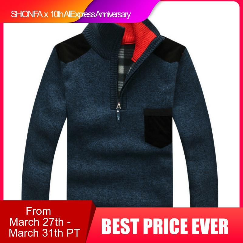 Winter Men's Turtleneck Sweater Half Zip Fleece Knitted Wool Pullover Long Sleeve Pocket Casual Male Thick Clothing For Autumn