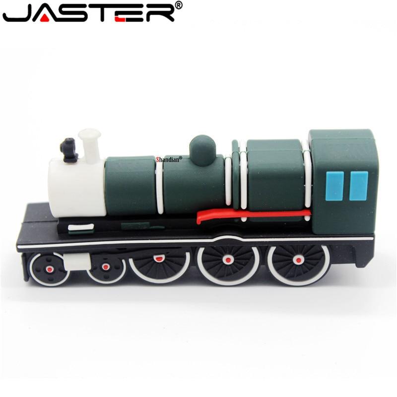 JASTER Lovely USB Mini Steam Train Pen Drive Memoria USB 4GB 16GB 32GB 64GB USB 2.0 U Flash Pendrive For Children's Gifts Stick