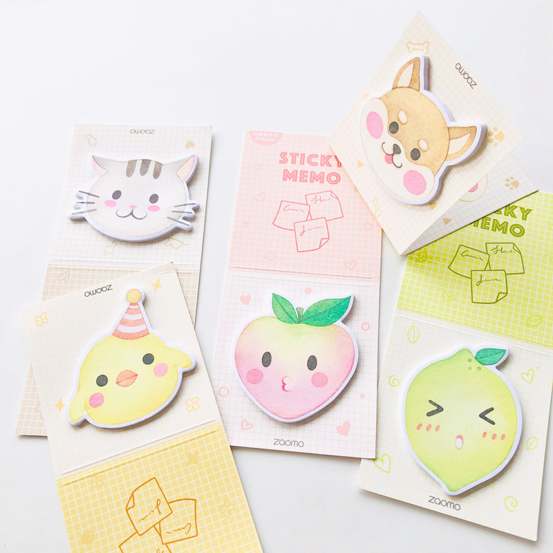 30 Pages Kawaii Foldable Peach Duck Cat Dog Memo Pad Sticky Notes School Stationery Notepad