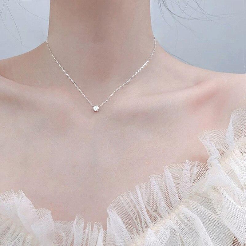 Женская цепочка с круглым кулоном, из стерлингового серебра 925 пробы, на 0,3 см/0,4 см/0,5 см, свадебная бижутерия