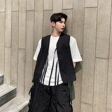 Летняя уличная панк Готическая куртка без рукавов модный показ Повседневный жилет мужской японский стиль лента Свободный жилет пальто мужской