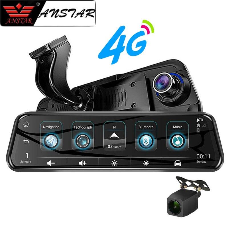2019 Anstar 10'' 4G Rearview Mirror Car DVR 1080P Video Record Dash Cam Dual Lens ADAS GPS Navigation Auto Registrar Camera