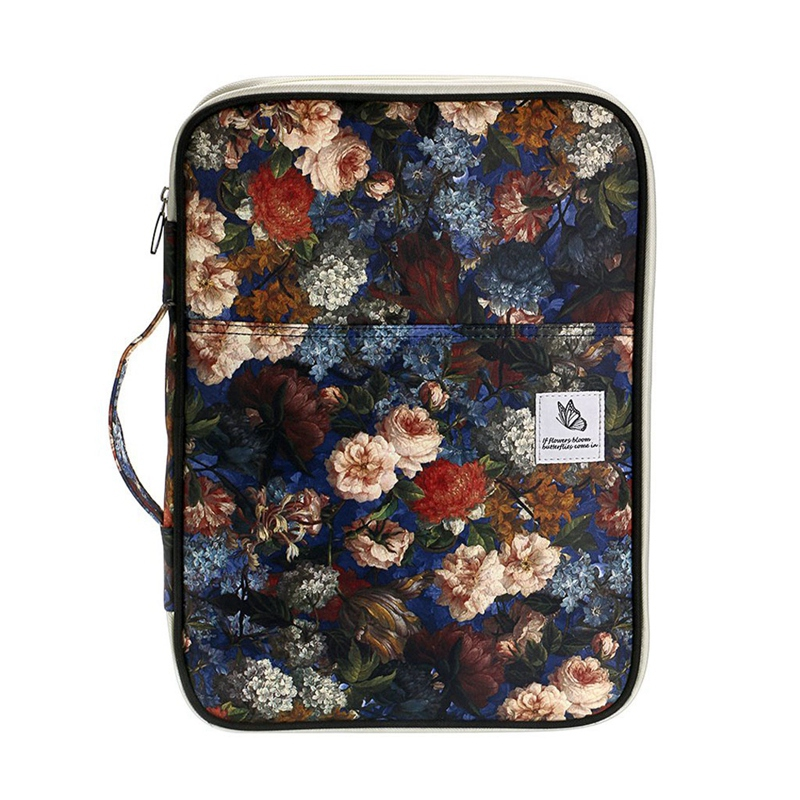 Multi-Function A4 File Bag Waterproof Travel Office Zipper Storage Bag Suitable For Notebook, Pen, File Storage(Carnation)