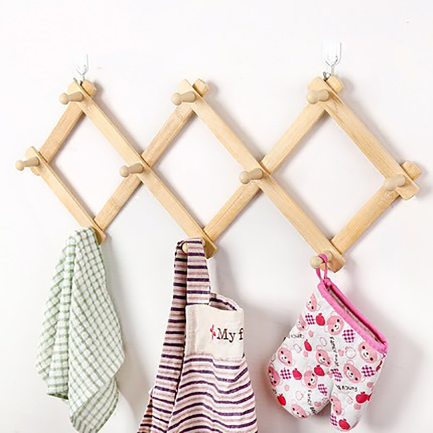 Kitchen Bamboo Foldable Hook Household Wall-mounted Keys Hat Bag Clothes Towel Organizer Hanging Rack Space-saving