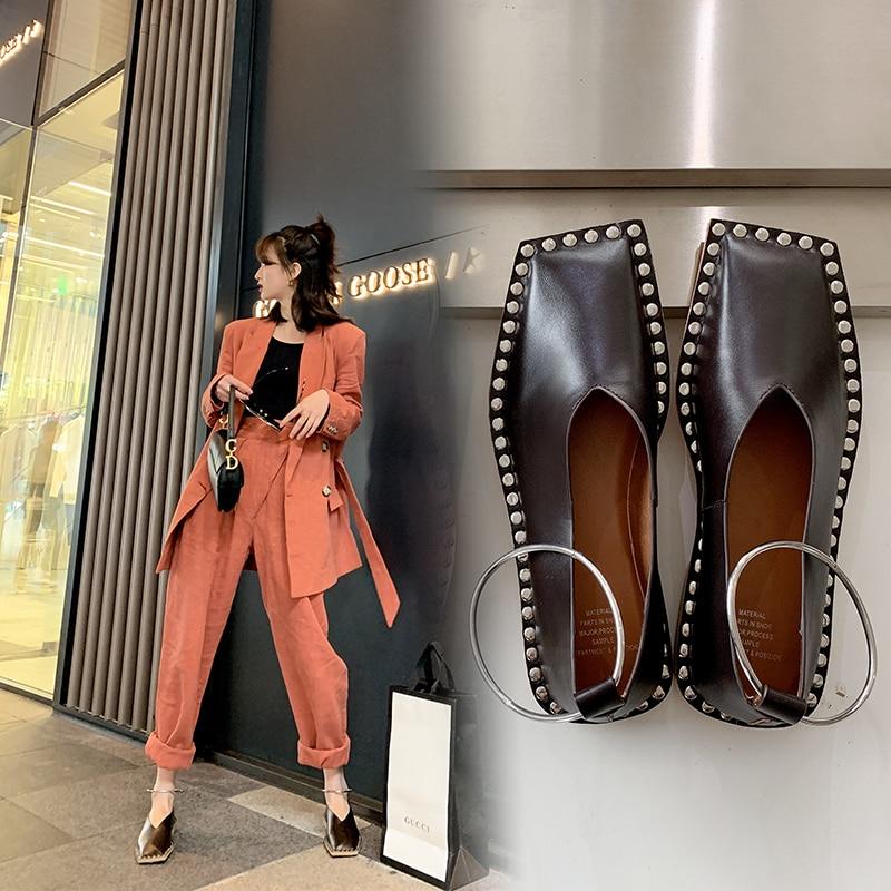INS Hot Women Pumps Genuine Leather Shoes 22-25cm Length Fashion Personality Square Head Rivets Shoes Woman Handicraft