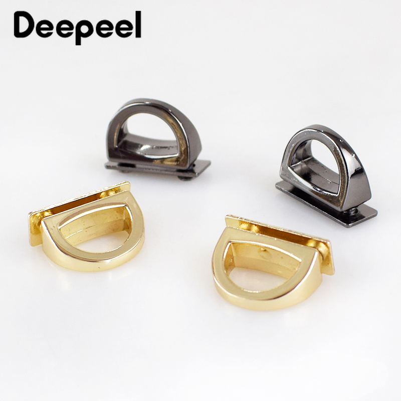 Deepeel 14mm Metal D Ring Side Clip Buckles Screw Handbag Chain Hang Buckle DIY Hardware Parts Strap Clasps Accessories BF021
