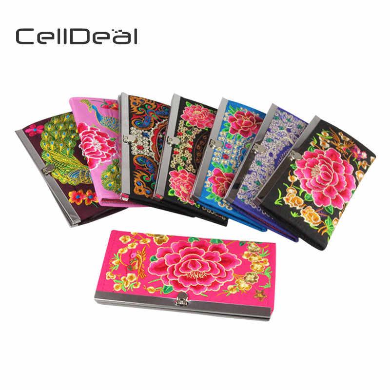 Celldeal Fashion Vintage Tas Tangan Bordir Etnis Wanita Panjang Dompet Bunga Flap Depan Tas Dikirim Acak Warna