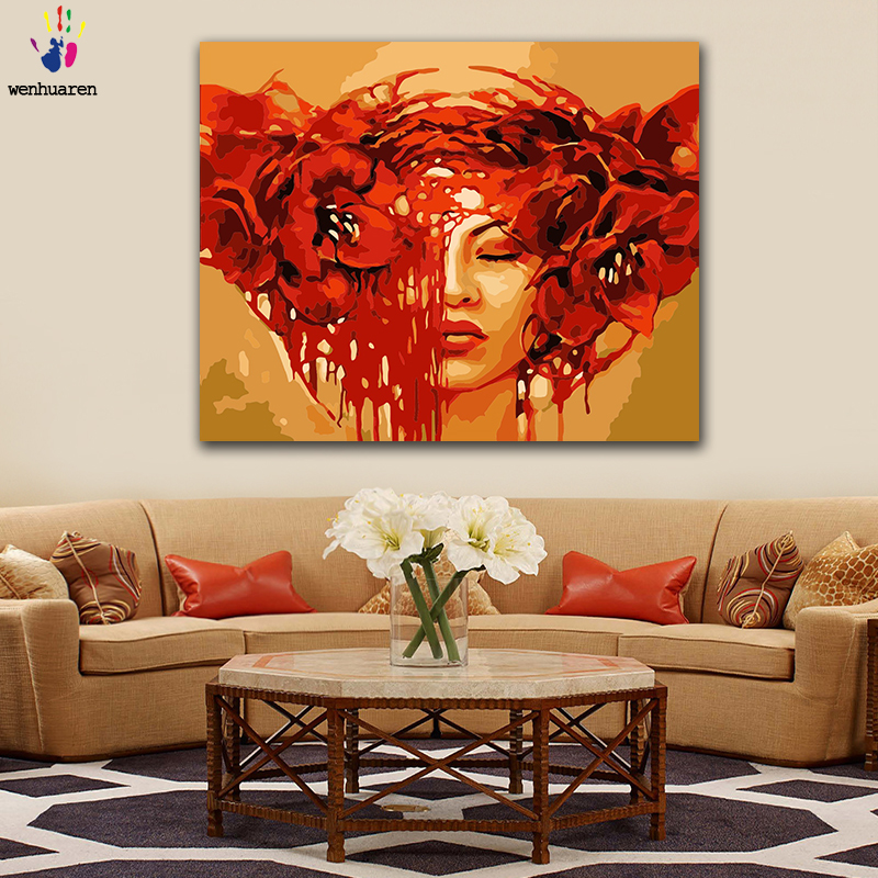 DIY Coloring Paint By Numbers Girl Wearing Red Big Flower Figure Paintings By Numbers With Kits 40x50 Framed