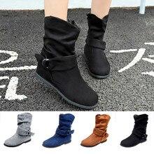 Ботинки до середины икры в винтажном стиле; женская обувь; теплые зимние женские ботинки с пряжкой и ремешком; большие размеры; ботинки на плоской подошве; женская обувь