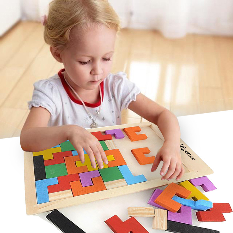 Colorful 3D Puzzle Wooden Tangram Math Toys Tetris Game Children Pre school  Magination Intellectual Educational Toy for Kids|Puzzles| - AliExpress