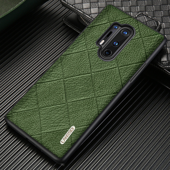 Original Rhombus Grain Leather Phone Case For Oneplus 8 Pro 8T 7T 7 Pro 6 6T 5 5T 7Pro 6T One Plus 360 Full Protective Cover