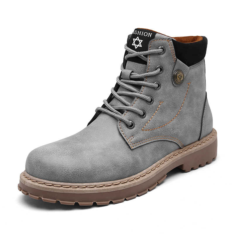 ブーツ男性秋高品質因果オートバイアンクルブーツ冬革レースアップラウンドトップファッション作業靴 bota ş デ hombre