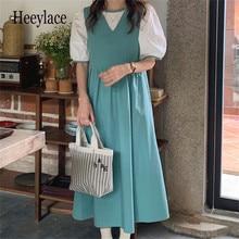 Korean Solid Minimalist Sweet Girls Blouses + Dress Summer Prom Hot Vintage Stylish Party All Match Retro Long Dresses Sets