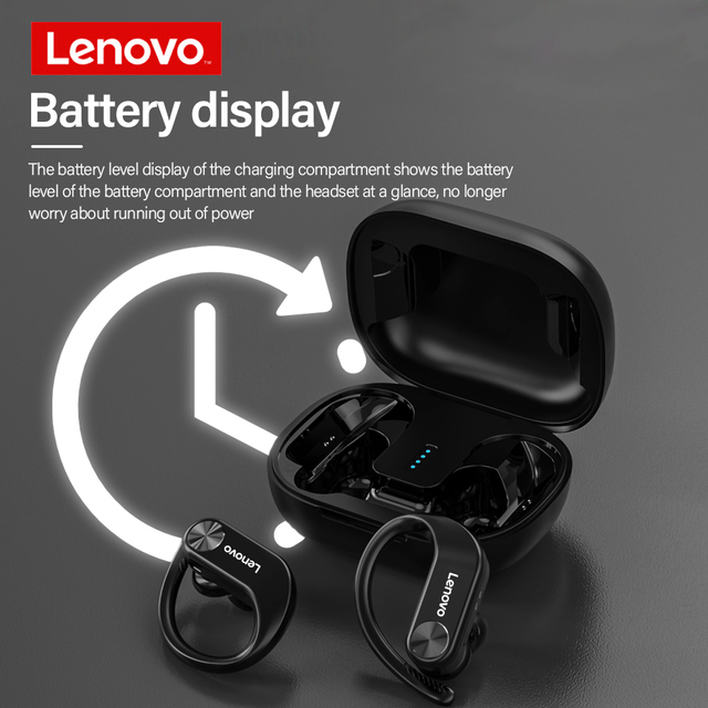 Lenovo TWS Bluetooth 5.0 Headphone Wireless Sports Earphone IPX5 Waterproof Low Gaming Delay Headset with Battery Display 3