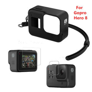Silicone Case for GoPro Hero 8 Black Tempered Glass Screen Protector Protective Lens