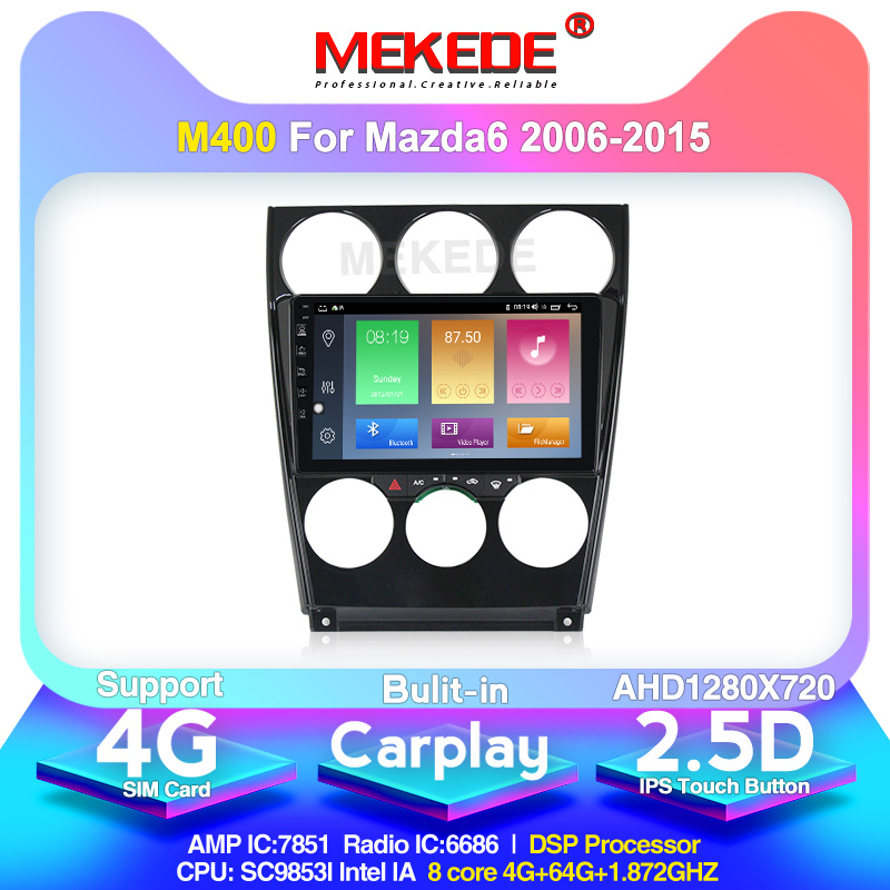 MEKEDE <font><b>Android</b></font> 10.0 For Old <font><b>Mazda</b></font> <font><b>6</b></font> 2004-2015 Car Radio <font><b>Multimedia</b></font> Video Player Navigation GPS Support DAB+ OBD2 Carplay DVR image