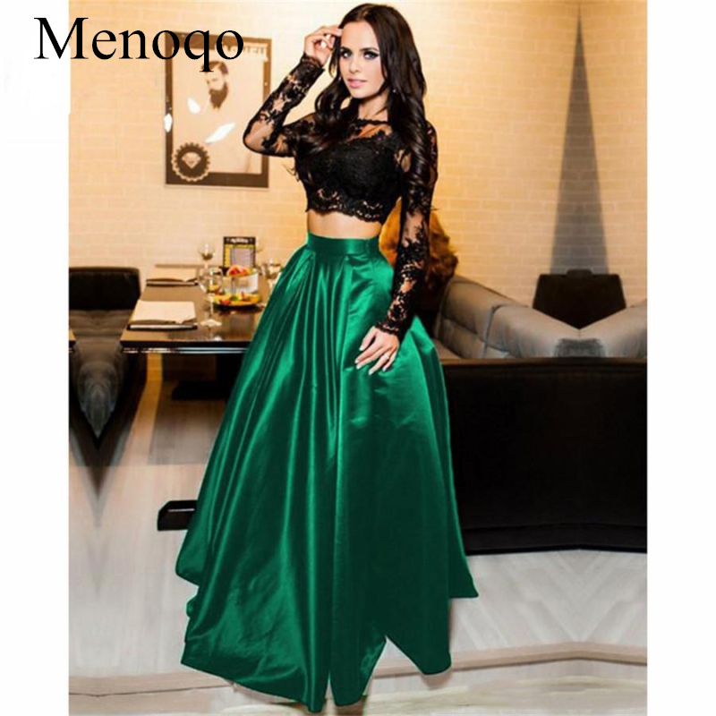 Menoqo Sexy Two Pieces Black Prom Dresses Lace Long Sleeve 2019 Satin A Line Party Women Evening Gown Formal Wear P31AU8