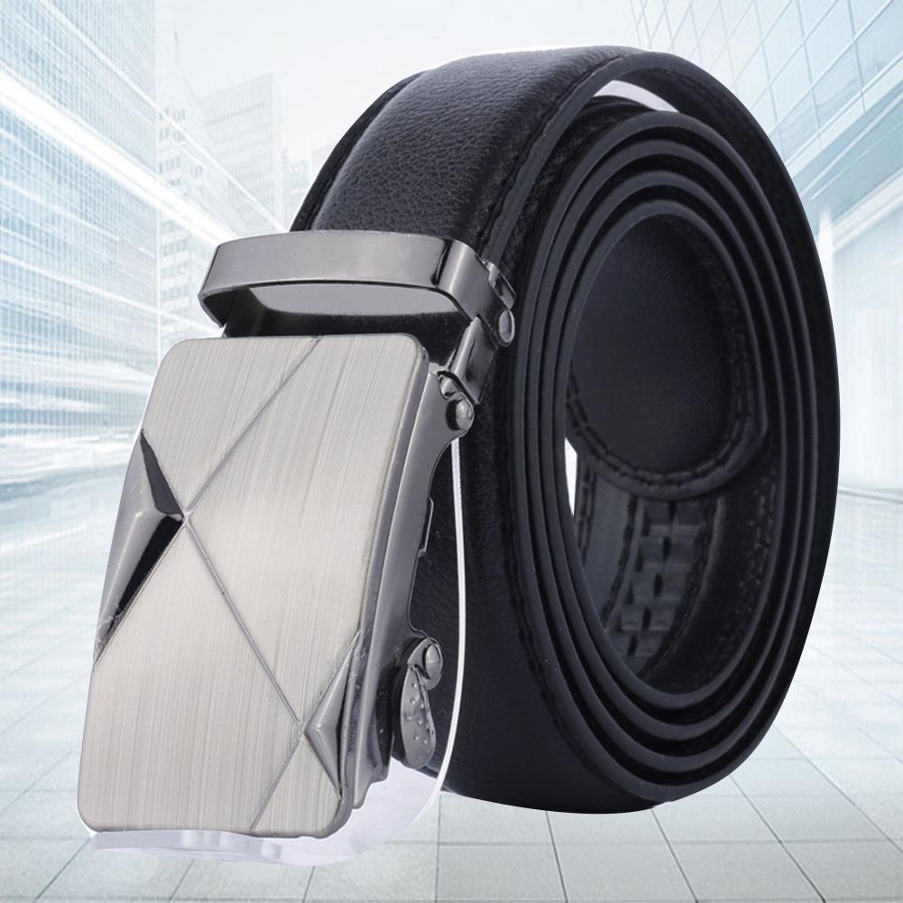 Fashion  Adjustable Belts Men Leather Solid Color Men Belt Strap Belts For Men Automatic Buckle Waist Belt Waistband Black Belts
