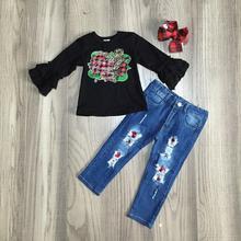Осень зима, рождественские джинсы для маленьких девочек с изображением Иисуса Креста детская одежда Изысканные клетчатые штаны с леопардовым принтом, комплект одежды с бантом