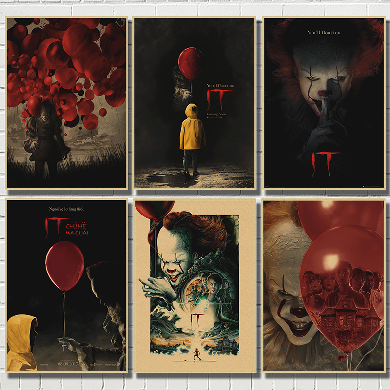 Poster Interior-Decoration Kraft-Paper Horror Movie It-Clown King's Stephen Palloncino title=