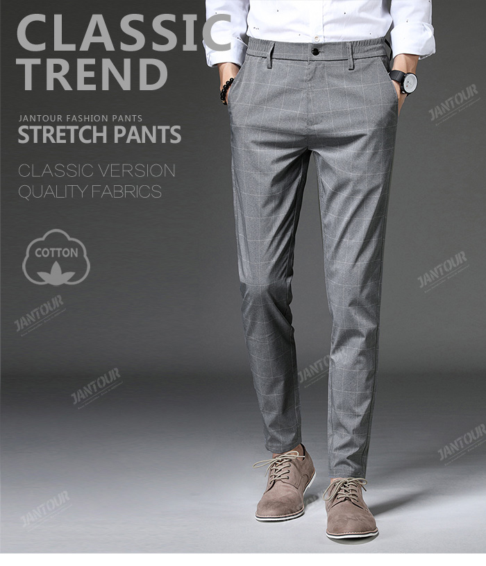 Jantour 2020 Spring New Casual Pants Men Slim Fit Plaid Fashion Gray black Trousers Male Brand Clothing business work pant 28-38 49
