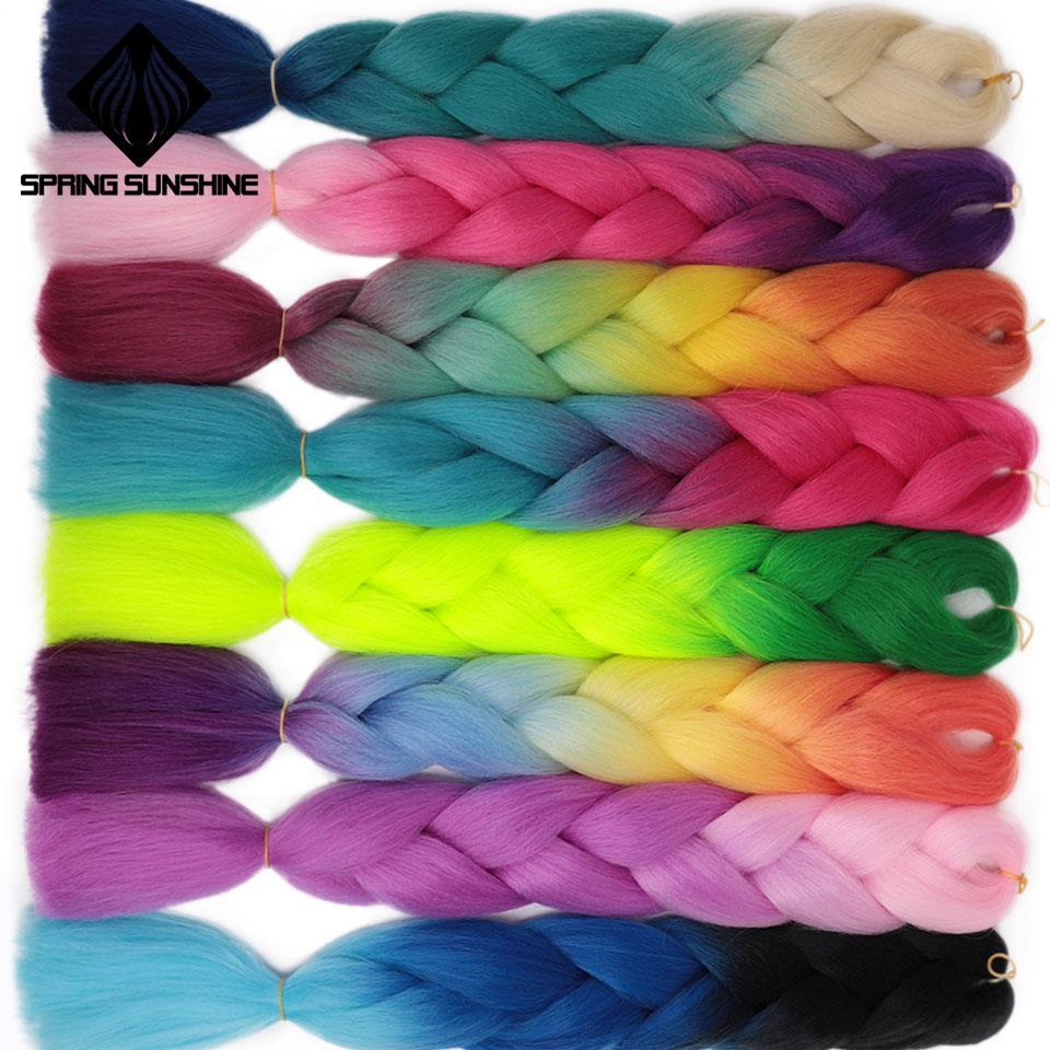 Spring Sunshine 24''Long Jumbo Braids Strands Ombre Synthetic Jumbo Braiding Hair Crochet Hair Extensions Hairs