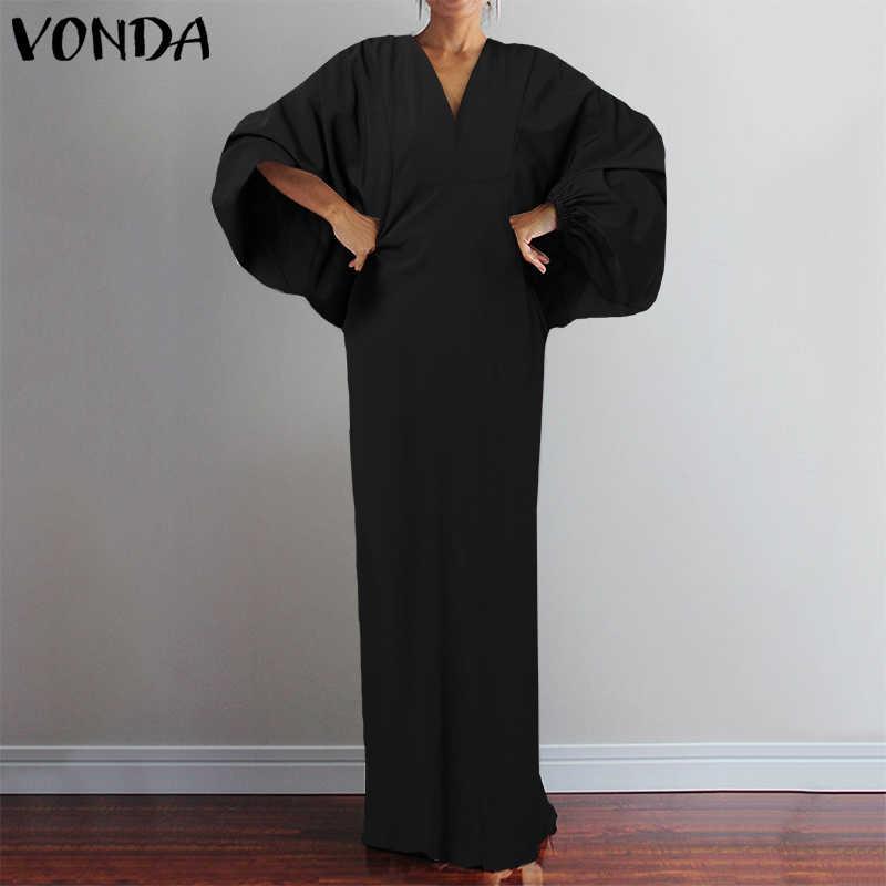 VONDA Vintage longue robe Maxi 2020 automne Sexy col en V à manches longues imprimé robes Femme robe d'été décontracté bohème robes