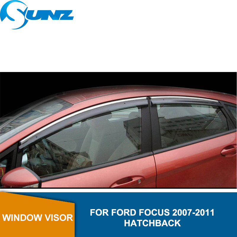 Window Visor for Ford Focus 2007-2011 side Winodow Deflectors rain guards HATCHBACK SUNZ