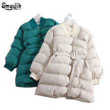 2019 winter jacket women Thicken Cotton Padded Outwear Parkas Woman Casual Elegant Sashes Female Coat